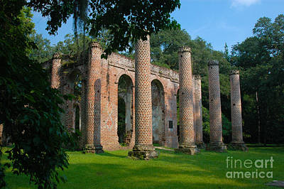 Photograph - Sheldon Church Brick Columns by Dale Powell