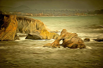 Pismo Beach Painting - Shell Beach After The Storm  I by Barbara Snyder