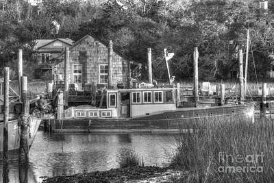 Photograph - Shem Creek In Black And White by Dale Powell