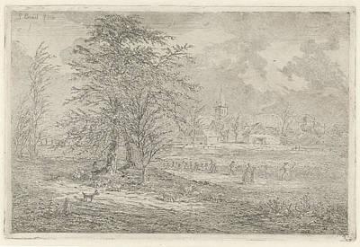 Cornfield Drawing - Shepherd In Cornfield, Gerardus Emaus De Micault by Gerardus Emaus De Micault