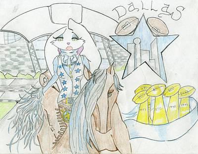 Dallas Drawing - She's A Cowboy Fan by Bandele Gatson
