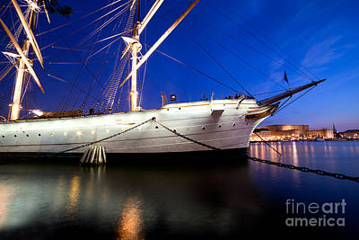 Nordic Photograph - Ship At Night In Stockholm by Michal Bednarek