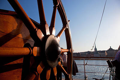 Stockholm Photograph - Ship Helm And A View On Stockholm by Michal Bednarek