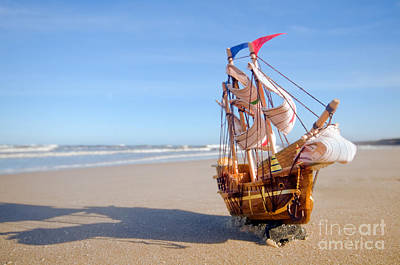 Ship Model On Summer Sunny Beach Art Print by Michal Bednarek