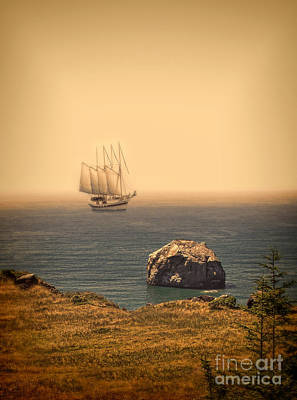 Ship Off The Coast Art Print by Jill Battaglia