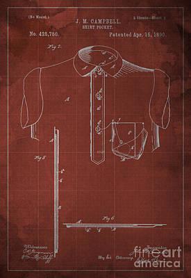 Shirt Pocket Blueprint Patent Art Print by Pablo Franchi