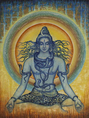 Cobra Wall Art - Painting - Shiva by Vrindavan Das