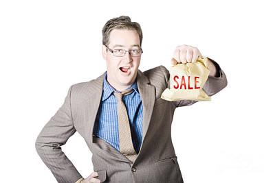 Shocked Business Man Holding Sale Cash Back Bag Art Print