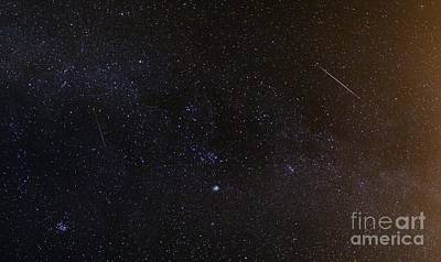 Shooting Stars And A Comet Art Print by Laurent Laveder
