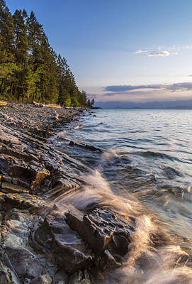 Montana State Parks Photograph - Shoreline Of Flathead Lake Receives by Chuck Haney
