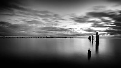 Photograph - Shorncliffe Pier In Monochrome by Silken Photography