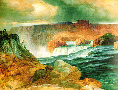 1874 Digital Art - Shoshone Falls Idaho by Thomas Moran