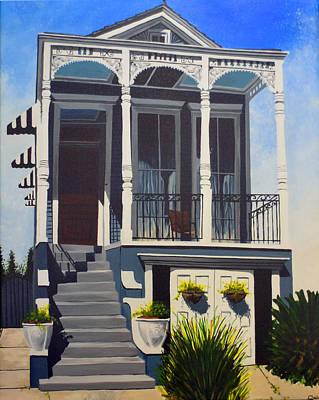 New Orleans Shotgun Houses Painting - Midcity Shotgun by Drew Enderlin