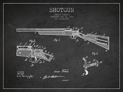 Rifle Digital Art - Shotgun Patent Drawing From 1918 by Aged Pixel