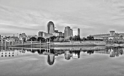 Shreveport Cityscape - Hdr Bw Art Print