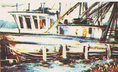 Shrimp Boat Art Print by Keith Spence