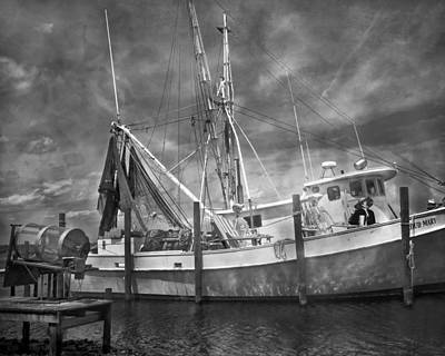 Shrimpin' Boat Captain And Mates Print by Betsy Knapp