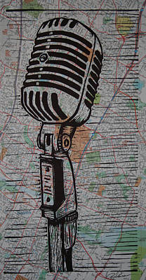 Printmaking Drawing - Shure 55s On Map by William Cauthern
