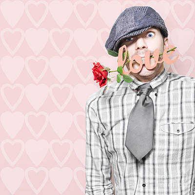 Photograph - Shy Young Romeo Boy In Love With Heart In Mouth by Jorgo Photography - Wall Art Gallery