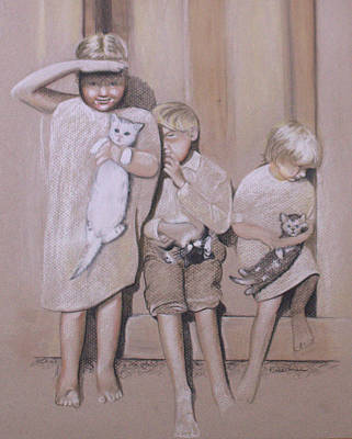 Drawing - Siblings by Kathy Weidner