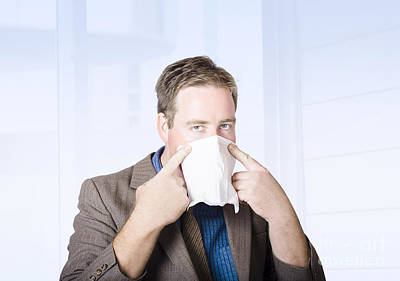 Handkerchief Photograph - Sick Male Office Worker With Cold And Flu Virus by Jorgo Photography - Wall Art Gallery
