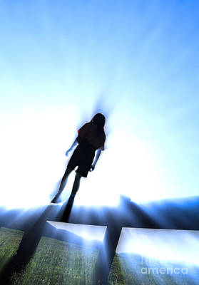 Scifi Portrait Collection - Silhouette of a girl walking along a wooden railing by Don Landwehrle