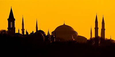 Silhouette Of A Mosque, Blue Mosque Art Print