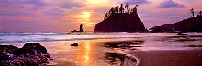 Olympic National Park Photograph - Silhouette Of Sea Stacks At Sunset by Panoramic Images