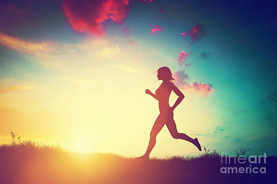 Jogging Photograph - Silhouette Of Woman Running At Sunset by Michal Bednarek