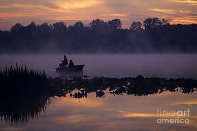 Photograph - Silhouetted Fishermen In Fog by Jim Corwin