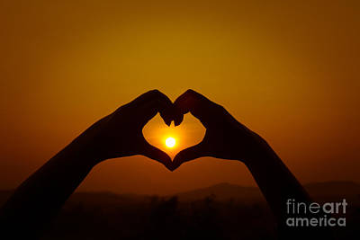 Art Print featuring the photograph Silhouettes Hand Heart Shaped by Tosporn Preede