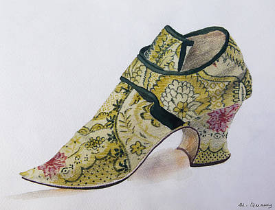 Social History Painting - Silk Brocade Shoe - Late 17th Century by Mary Quarry