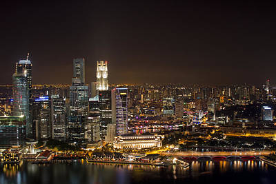 Singapore City Skyline At Night Art Print by David Gn