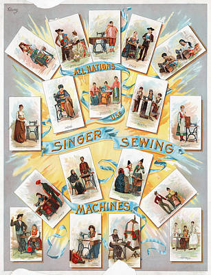 Serbian Painting - Singer Sewing Machine Ad by Granger
