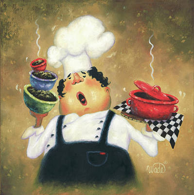Singing Chef Art Print by Vickie Wade