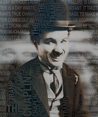 Sir Charles Painting - Sir Charles Spencer Charlie Chaplin Square by Tony Rubino