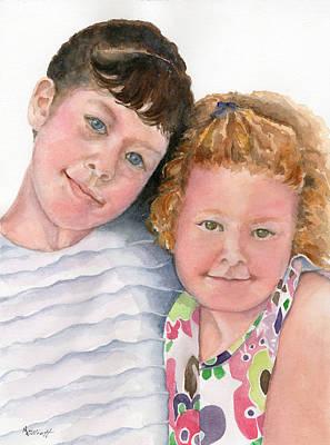 Granddaughter Painting - Sisters by Marsha Elliott
