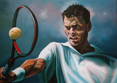 Us Open Painting - Sjeng Schalken by Paul Meijering