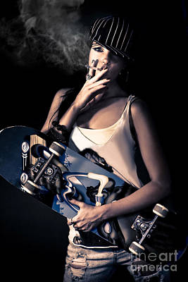Skater Girl Smoking A Cigarette Art Print by Jorgo Photography - Wall Art Gallery
