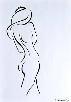 Modern Abstract Art Drawing - Sketch Of A Nude Woman by Anna Androsovski