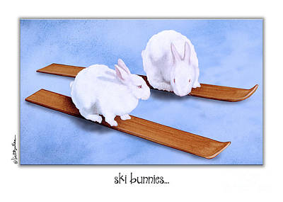 Snow Sports Painting - Ski Bunnies... by Will Bullas