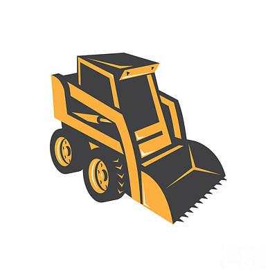 Digital Art - Skid Steer Digger Truck by Retro Vectors