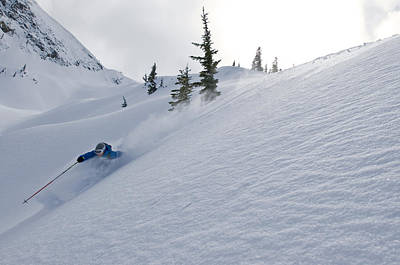 Skier Shredding Powder Below Nak Peak Art Print by Kurt Werby
