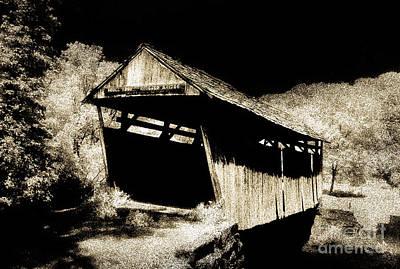 Winter Animals - Skull Fork Covered Bridge 35-34-19 by Robert Gardner