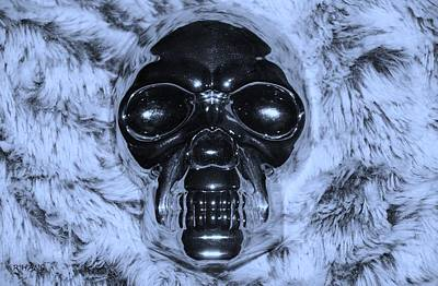 Mixed Media - Skull In Cyan by Rob Hans