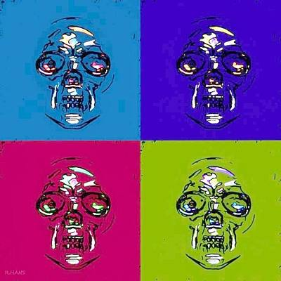 Mixed Media - Skulls In Quad Colors by Rob Hans