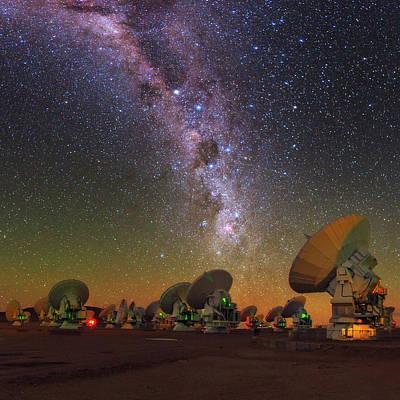 Sky Above Alma Radio Telescope Art Print by Babak Tafreshi