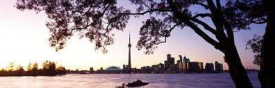 Skyline Cn Tower Skydome Toronto Print by Panoramic Images
