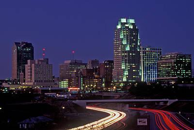 Skyline Of Raleigh, Nc At Night Art Print