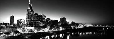 Davidson County Photograph - Skylines At Night Along Cumberland by Panoramic Images